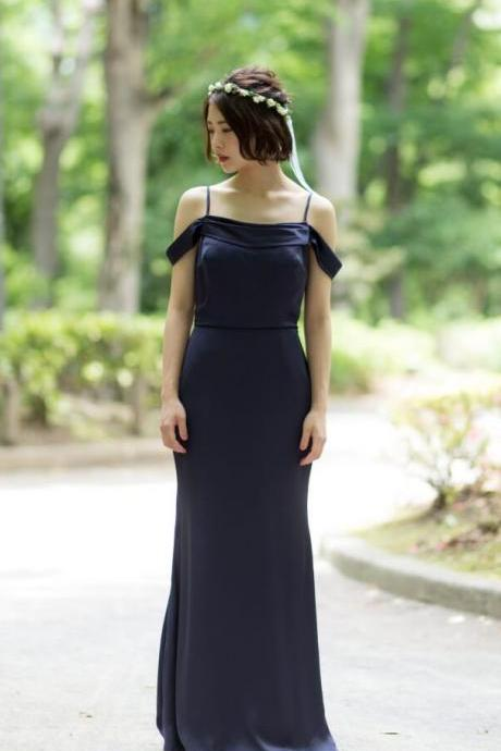 Navy Bluer Custom Made Cold-Shoulder Satin Chiffon Sheath Floor-Length Bridesmaid Dress