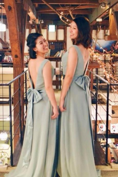 152colors Custom-made Bridesmaid Dress Open Back Bow Chiffon Long Dress
